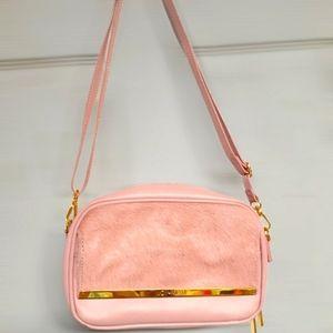 Joy & Iman Luxe Leather & Calf Hair Crossbody Bag with RFID, Blush